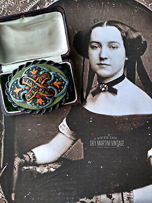 Antique Victorian Gutta Percha Hand Painted Carved Brooch Pin Rare Unusual Large