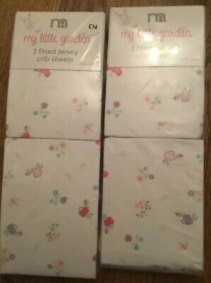 2 Packs Of Mothercare My Little Garden Pack Of 2 Jersey Fitted Crib Sheets 🌟