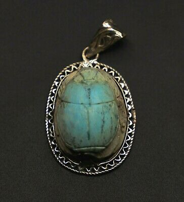 VINTAGE EGYPT EGYPTIAN ANTIQUES SCARAB Beetle STONE Pendant OLD Silver from 1955