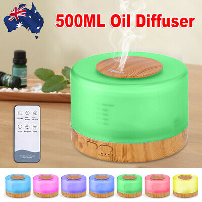 500ml Ultrasonic Essential Oil Aroma Diffuser Air Humidifier Remote LED Light
