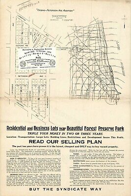 Chicago 1924 Map For Ancestry/Genealogy & History Fans- Cicero-Peterson Av. ADD