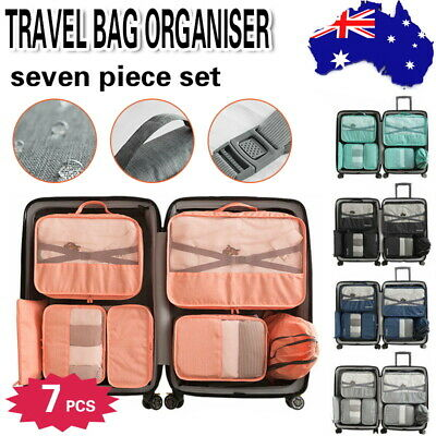 7pcs Packing Cube Pouch Suitcase Clothes Storage Bags Travel Luggage Organiser