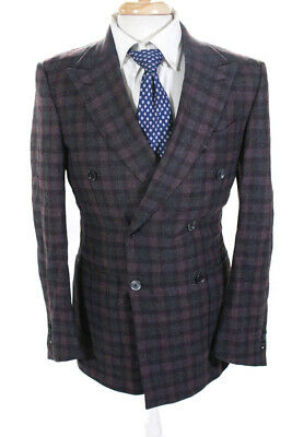 Ermenegildo Zegna Mens Mila Double Breasted Unlined Blazer Purple Size IT 48