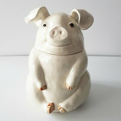 Rare Fitz and Floyd Pig Shaped Ceramic Cookie Jar Biscuit 1970s Japan