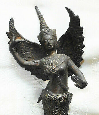 Antique-Cambodian-Kinnaree-Bronze-statue-ashtray-late-19th-century-unique