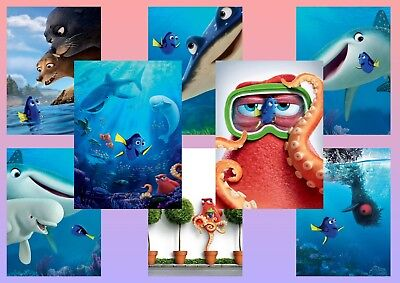 Nemo Finding Dory  Crush  Mr Ray  Gerald   A5 A4 A3 Textless Movie Posters