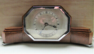Art Deco Elliott English Made 8 Day Mantle Clock -Chrome Trim -Good 4 Age