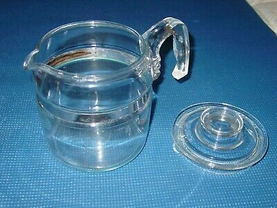Vintage Pyrex Percolator Glass 4 6 Cup Pot W Lid & Handle Flameware Coffee Maker