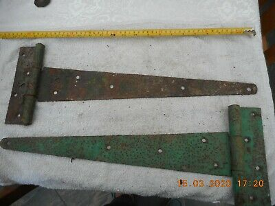 Rustic rusty wrought iron Vintage Gate / Barn / garage Door Hinges 20""
