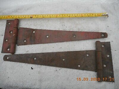 Rustic rusty wrought iron Vintage Gate / Barn / garage Door Hinges 16""