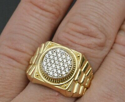 10K Yellow Solid Gold Men Rolex style created Diamonds Ring 5.6 grams all sizes