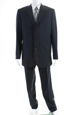 Jack Victor Mens Three Button Notched Lapel Pleated Suit Navy Blue Wool Size 42L