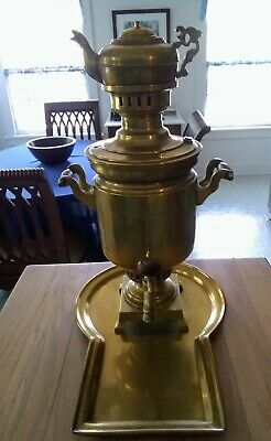 """Antique Vtg Russian Brass Samovar Coffee Tea  with tray 21"""""""
