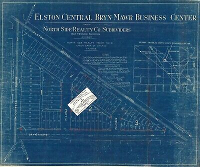Chicago 1923 Advertisement Map: Elston-Central-Bryn Mawr Business Center