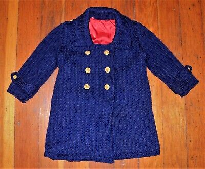 Vintage Antique Child's Navy Blue Knit Jacket Sweater DoubleBreasted Red Lining