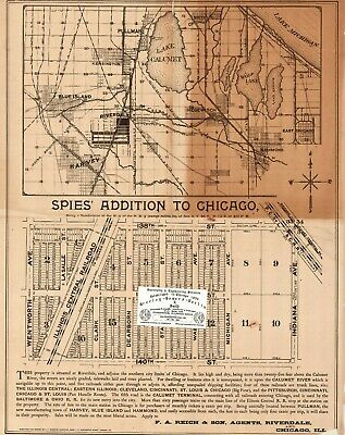 Chicago Antique 1891 Map of Spies' Addition to Chicago in Riverdale, IL