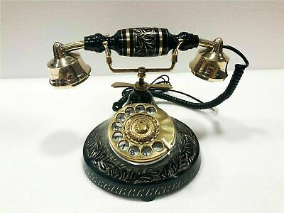 Beautiful Nautical Antique Solid Brass Rotary Dial Working Telephone