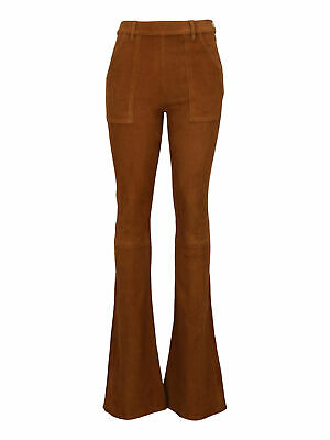 Frame Women Trousers Camel Color Leather Denim 26/27