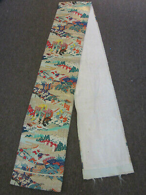 "Antique Chinese / Japanese Silk embroidered Sash 126"" X 12.5"" Marked, Signed"