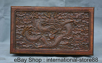 """10"""" Old Chinese China Rosewood Carving Palace Dragon JEWELLERY BOX Jewel Case"""