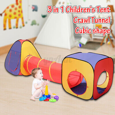 3in1 Portable Childrens Baby Kids Play Tent Tunnel Ball Pit Playhouse Pop Up