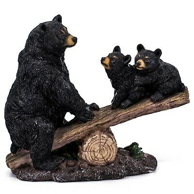 """Black Bear With Cubs On Seesaw Figurine Statue 8"""" Long Resin New!"""