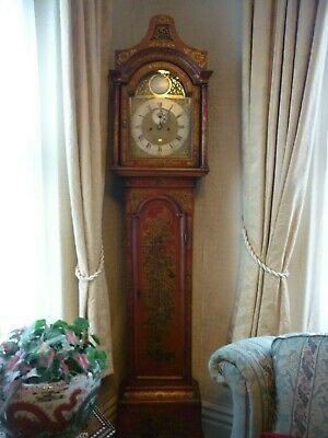Red Chinoiserie Longcase 8 day clock by Darlon Mather  London Circa. 1780