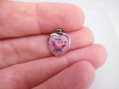 Super Sweet Art Deco Sterling Silver Guilloche Enamel Heart Charm Pendant