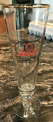 "Vintage Straub Beer - Brewing Co Drinking Stem Glass St. Mary's Pa 8 1/2"" Inch"