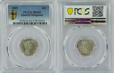 1885 Spain/Philippines 10 Centimos Centavos ~ PCGS MS65 ~ Lots of Luster/Appeal