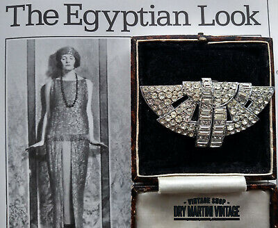 ANTIQUE ART DECO 1920s EGYPTIAN REVIVAL SCARAB RHINESTONE DRESS FUR CLIP BRIDAL