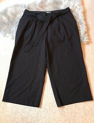 ☆ ASOS ☆ Black Wide Leg Cropped Trousers, Sz 18