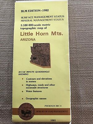 USGS BLM EDITION Topographic Map - LITTLE HORN MTS. Arizona 1981