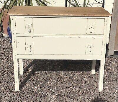 Antique Edwardian Chest Of 2 Drawers Oak Painted Shabby Chic.