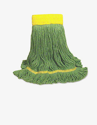 "2x Triple S Industrial Looped Wet Mop, Small, Green, 5"" Headband,  SSS # 37833"