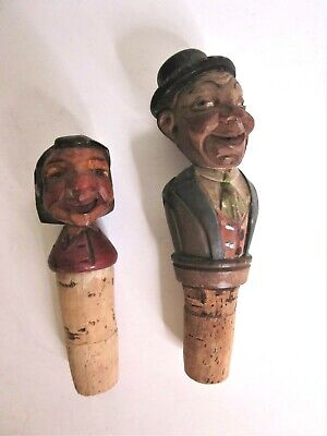 2 Antique Anri - Style Hand Carved Wood Bottle Stoppers - Man and Woman
