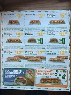 1 Subway Coupon Sheet / Flyer Expire 4/8/2020- $22 avg saving 12 coupons total