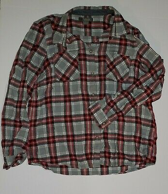Natural Reflections Womens Flannel Shirt Size Large Gray Plaid
