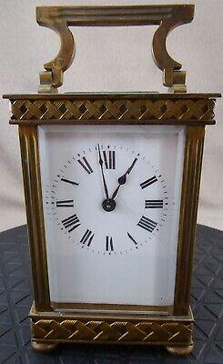 Unusual Brass carriage Clock with Braid Effect Borders case for repair