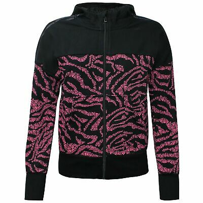 Adidas Girls AOP Full Zip Hoodie Casual Sweatshirt Black S16427