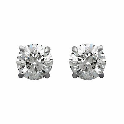 Estate 14K White Gold Brilliant Diamond Stud Earrings