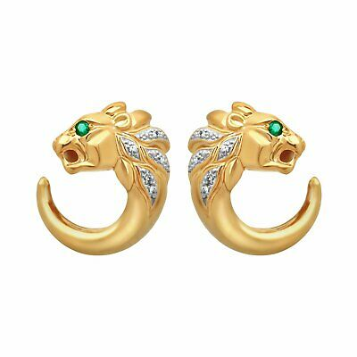 Estate 18K Yellow Gold Diamond Emerald Panther Earrings