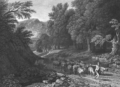 Trees Shepherd Sheep Landscape 8x10 Print 2498 The Beeches by Asher Durand