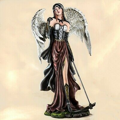 """Large Gothic Dark Angel Fairy With Scythe Figurine Statue 20.25""""H Resin Reaper"""
