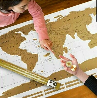 Scratch Off World Large Map Poster Personalized Travel Vacation Log Xmas Gift UK