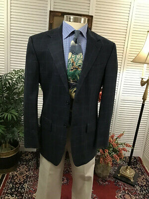 Nautica Mens Navy Blue Plaid Silk Sports Coat Jacket Blazer Size: 38R  #A12