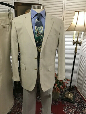 COOL SUMMER COTTON MENS BEIGE 2 TWO PIECE SUIT SIZE: 40R  PANTS: 34x30  #P18
