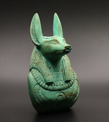 Rare Egyptian Anubis Head Antiques God Deity Dog Egypt Statue Green Stone Bc