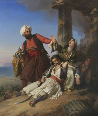 """oil painting on canvas """"Scene from the Greek War of Independence """"@N10874"""