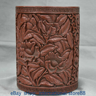 """8"""" Marked Old China Lacquerware Dynasty Palace Flower Pencil Vase Brush Pot"""